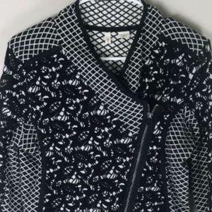 Anthropologie Black jacquard lace Moto jacket